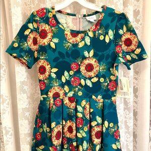 "LuLaRoe * NWT Teal ""Amelia"" Sunflower Dress"